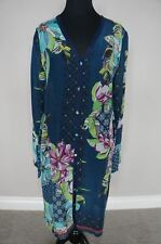 Johnny Was Rayon Floral Button Down Garden Cardigan Tunic Dress Jacket S