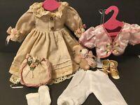 "Pink DOLL DRESS-Boots-Jacket For 22-24"" Doll 10""Waist~Porcelain-Composition (P2)"