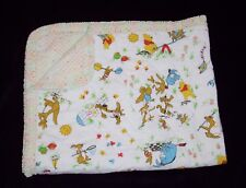 Vintage Quilted Winnie the Pooh Baby Crib Blanket Security Lovey