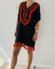Womens black embroidered red tassel trim smock kaftan dress
