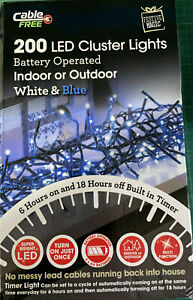 200 LED Outdoor Indoor Christmas Lights LED BLUE And White Cluster Cable Free UK