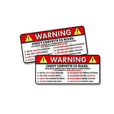 Chevy Corvette C4 - Rules Warning Safety Instruction Funny Sticker Decal 2 PK 5""