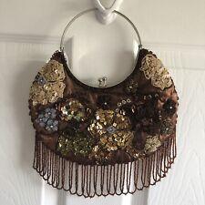 Brown Satin Beaded Sequined Kiss Lock Evening Bag Handbag Purse Floral