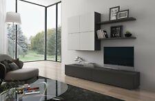 Parete attrezzata Slesia bianco marrone base mobile TV soggiorno sala da pranzo