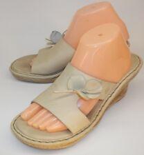 Born Womens Shoes US10 Beige Leather Wedge Heels Sandals Slip-on flower spring