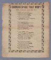 Victorian Broadside c1860 Cabman Spare that Whip Horses Cruelty to Animals