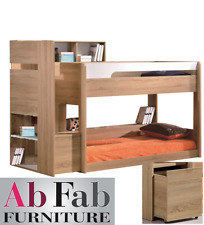 ORION SINGLE BUNK BED WITH STAIRS ,  DRAWER , BOOKCASE AND STORAGE WHITE & OAK