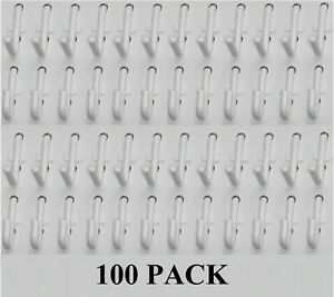 Plastic White Pegboard Wall Locking Hooks 50 J & 50 L Pack PEGBOARD NOT INCLUDED
