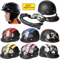DOT Motorcycle Scooter Open Face Half Helmet & Visor UV Goggles & Scarf Vintage