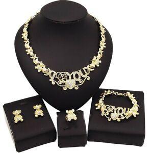 #61 HUGS & KISSES Teddy bears Xo Set Necklace bracelet Earrings Ring 18k Layered