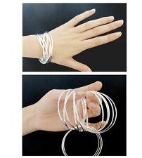 19.1Cm 10 pz qualità PLACCATO ARGENTO SENZA PIETRE braccialetto Set &