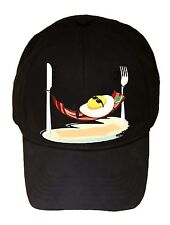 Good Morning Egg Sunny Side Up Relax Bacon Hammock Black Adjustable Cap Hat New