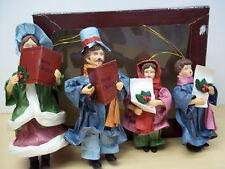 Vintage Set of 4 Christmas Caroler Paper Mache Ornaments - Excellent