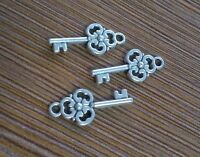 PJ57 Tibetan Silver Charms 2-Sided Love key retro Accessories Wholesale 20pc
