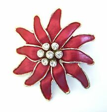 Red Enamel Flower Brooch Lapel Pin Silver Plated Metal Crystal Mothers Day Gift