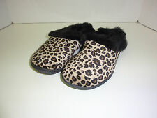 WOMENS SCUFF SLIPPERS LADIES LEOPARD PRINT CHARTER CLUB SIZE SMALL SIZE 5-6