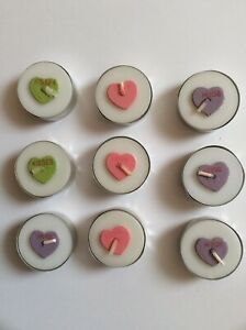 9 Valentines Conversation Heart Teal Light Wax Candles Love Hugs Kisses Wedding