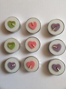 9 Valentines Conversation Heart Teal Light Wax Candles Love Hugs Kisses Wedding