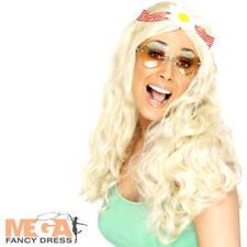 Daisy Hippy Blonde Long Wig Ladies 1960s Fancy Dress Womens Hippie Costume Wig