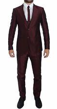 NWT $4000 DOLCE & GABBANA Bordeaux Silk Wool 4 Piece Slim Fit Suit EU44 /US34/XS