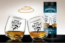 "2 tlg. Set Whisky Wackelglas ""Toller Hecht"" 8,5 x 7,5 cm in Zylinder-Geschenkbox"