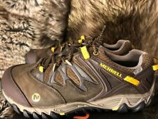 New! Merrell Men's Allout Blaze WP Hiking Shoes Blk Slate/Yellow 7.5M D.Brown
