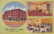 THE GILMER HOTEL Columbus, Mississippi Interiors Vintage Linen Postcard ca 1940s