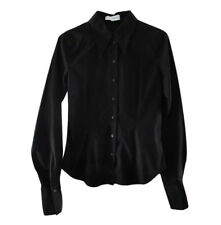 Anne Fontaine Black Cotton Blend Long Sleeve Button Front Fitted Shirt size 2