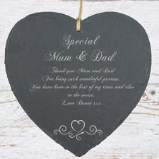 Personalised Mum and Dad Gift Slate Plaque Heart Symbol SLA210-5