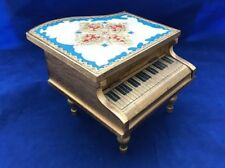 Vintage wooden piano musical jewlery box made in Japan gold finish red lined