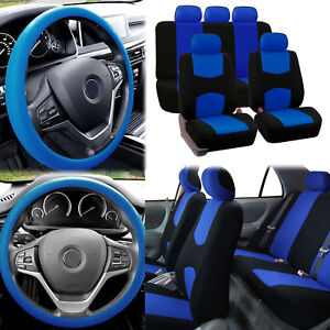 Flat Cloth Car Seat Covers Blue Black 2 Row Set w/ Silicone Steering Wheel Cover