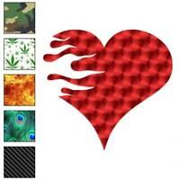 Heart Fire Flames Decal Sticker Choose Pattern + Size #361