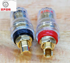 1 Pair Crystal Speaker Terminal for Power Amplifier Horn Pure Copper + & -