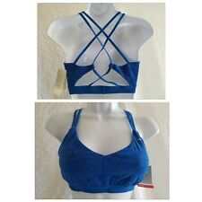 New PUMA Criss Cross Strappy Sports Bra Low Impact Blue Women's M Medium