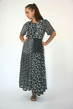 New Womens Black with Grey Floral Patchwork Print Chiffon Midi Dress Size 10-16