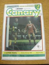 30/04/1988 Norwich City v Luton Town  (the item is in good/very good condition w