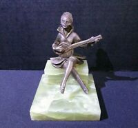 Antique J.B. Hirsch Gerdago Pixie Lady Playing Banjo Marble Book End, Bronze