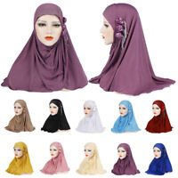 One Piece Muslim Hijab Flower Headwrap Shawl Full Cover Amira Cap Headwear Scarf