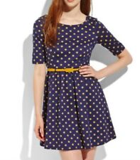 ModCloth Yumi Belted Navy Blue A-line Dress with Mustard Polka Dots NWT