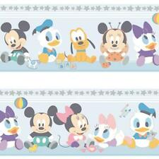 OFFICIAL DISNEY BABY MICKEY MINNIE MOUSE CHILDRENS NURSERY WALLPAPER BORDER BLUE