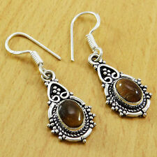 925 Sterling Silver Gorgeous TIGER EYE Gemstone Indian Dangle Earrings Jewelry