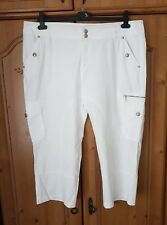 WOMENS WHITE CARGO STYLE CROPPED TROUSERS FROM MISS ETAM EU 44 / UK 16
