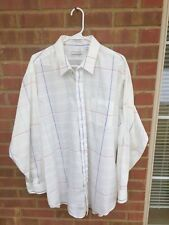 Pierre Cardin Vintage XLT Windowpane Check White With Multicolor Long Sleeve