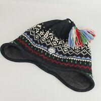 Vintage Steffner 90s Ski Winter Grey Multi Coloured Hat With Tassles - Fleece