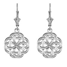 14k White Gold Eternity Trinity Knot Drop / Dangle Leverback Earrings