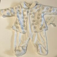 Kissy Kissy 2 Piece sleeper Cardigan Set White Gray Grey Crowns 3-6, newborn