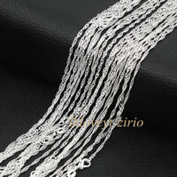 "Wholesale Lots 5Pcs 925 Sterling Solid Silver Water Wave Chain Necklace 16""-28"""
