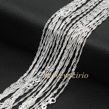 """Wholesale Lots 5Pcs 925 Sterling Solid Silver Water Wave Chain Necklace 16""""-28"""""""