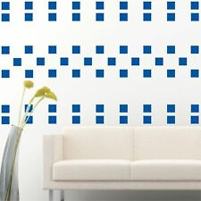 "100 of 4"" Blue Squares DIY Removable Peel & Stick Wall Vinyl Decal Sticker"