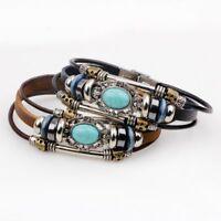Vintage Turquoise Leather Handmade Punk Bracelet Multilayer Men Bangle Jewelry